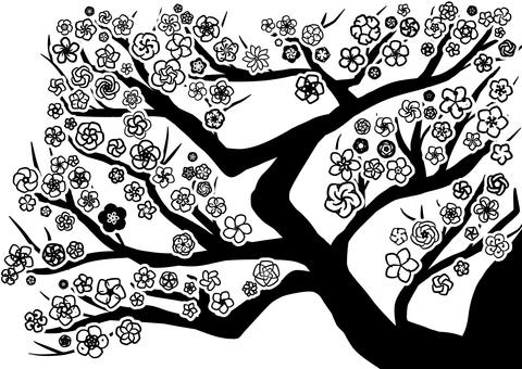 매화 나무 실루엣