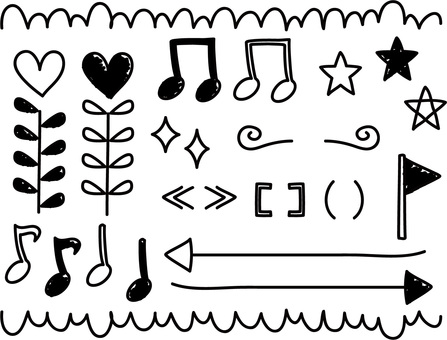 Hand drawn rough line icons, symbols set