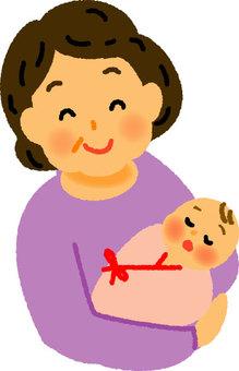 奶奶和剛出生的嬰兒
