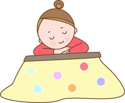 A woman spending in a kotatsu