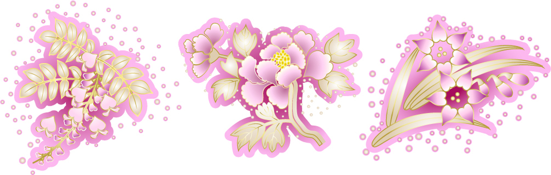 분홍색 꽃 3 점