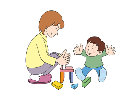 Parent and child making a block