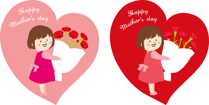 Mother's Day Girl Heart Background