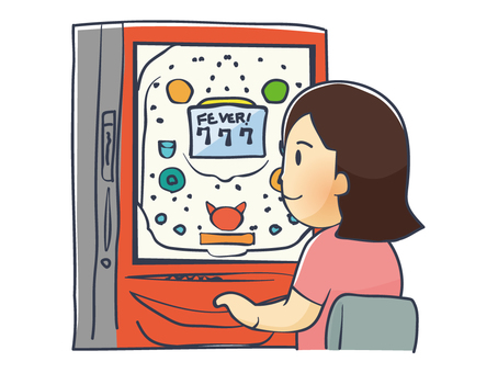 Illustration of a woman hitting a pachinko
