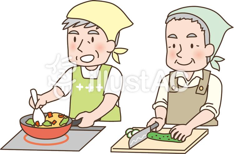 料理教室のおじいちゃんイラスト No 392080無料イラストなら