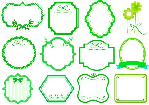 Assortment of green labels
