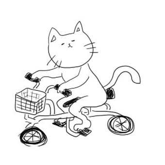 A cat riding a bicycle