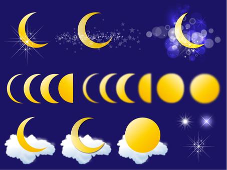 Moon, crescent moon, full moon