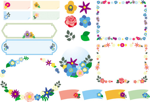 Simple flower frame set