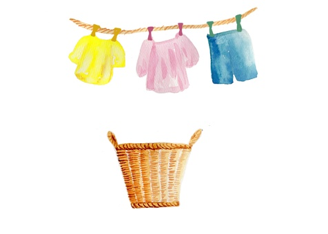 Hand-painted watercolor for laundry dried basket