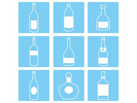 Bottle of liquor icon Blue