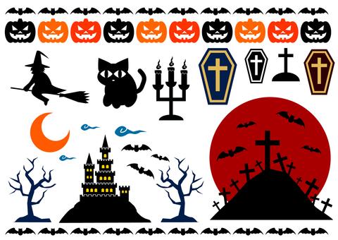 An assortment of Halloween silhouettes