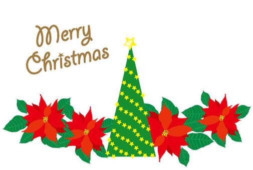 크리스마스 트리와 포인세티아 카드