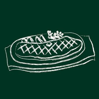 Blackboard line drawing steak
