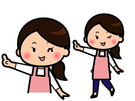 指さしをする主婦のイラスト