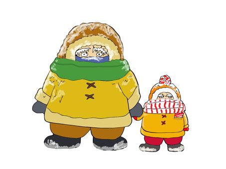 Parent and child below freezing