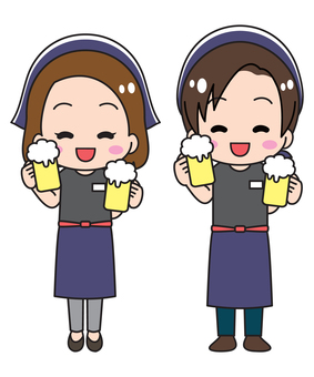 Tavern clerk with beer