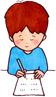 A boy studying (smiling)