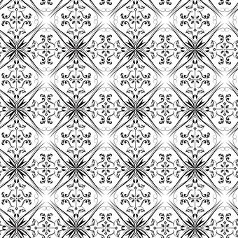 ダマスク織パターン5(黒)