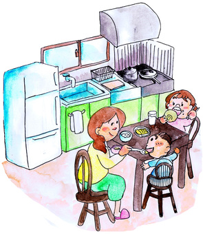 Dining kitchen room illustration