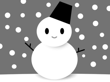 【モノクロ】雪だるま01