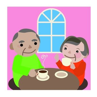 Old couple · coffee shop