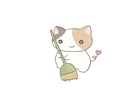 Calico cat sweeping