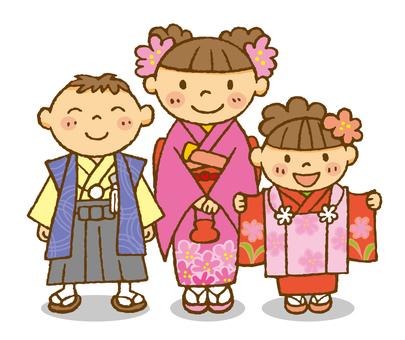 Shichigo San brothers! New Year's kimono