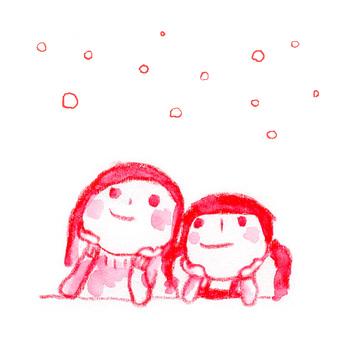Christmas sisters snow