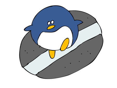 Penguin crossing the white line