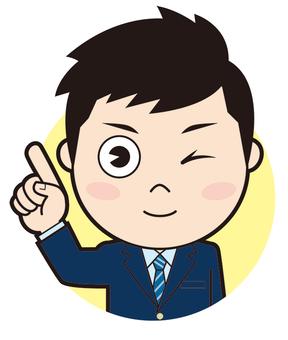 Pointing blazer boys school student (wink)