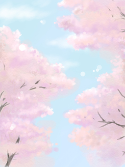 Background cherry blossom trees