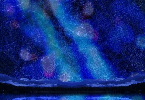 七夕の天の川と湖-夏の星空イメージ