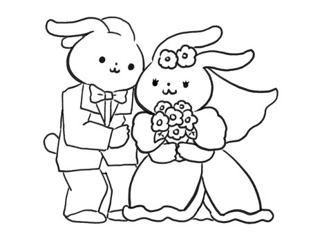 [B / W] Rabbit giving a wedding [Line drawing]