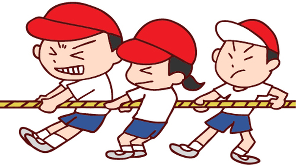 Illustration of sports day tug of war