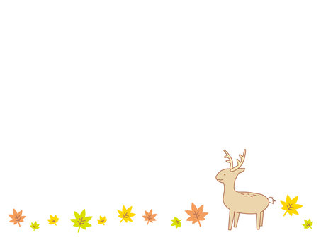 Deer on autumn leaves