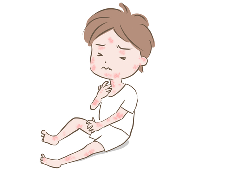Itching of a boy's body