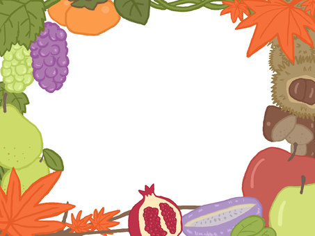 Autumn fruits frame