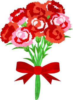 수채화 풍 카네이션 꽃다발 투과 알리