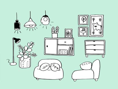 Interior goods (line drawing)