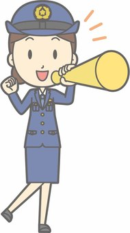 Police officer woman a - megaphone - whole body