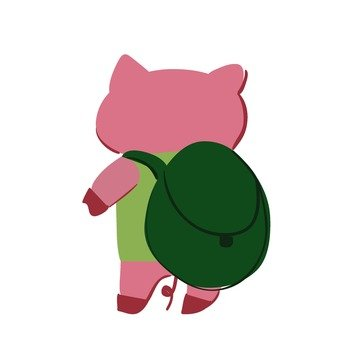 A pig carrying a backpack