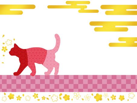 Japanese style cat frame