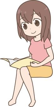 Anime female | Reading books | sitting | reading