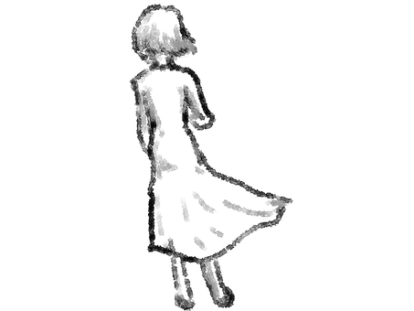 Rear appearance of a standing woman