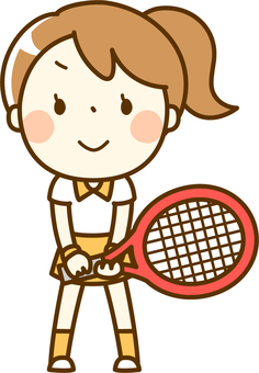 A girl playing tennis