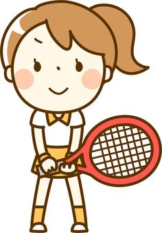 一個女孩打網球