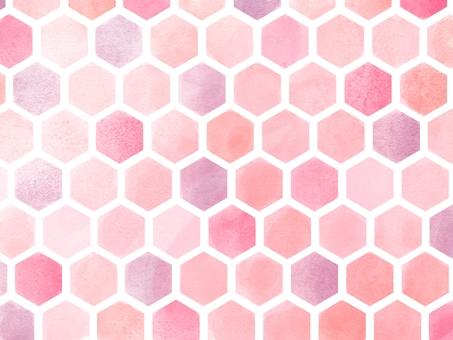 Wallpaper * Watercolor style Hexagon pattern (Pink)