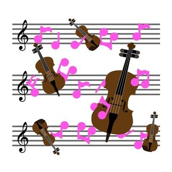 Music score and string instrument