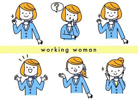 受付の女性の表情セット